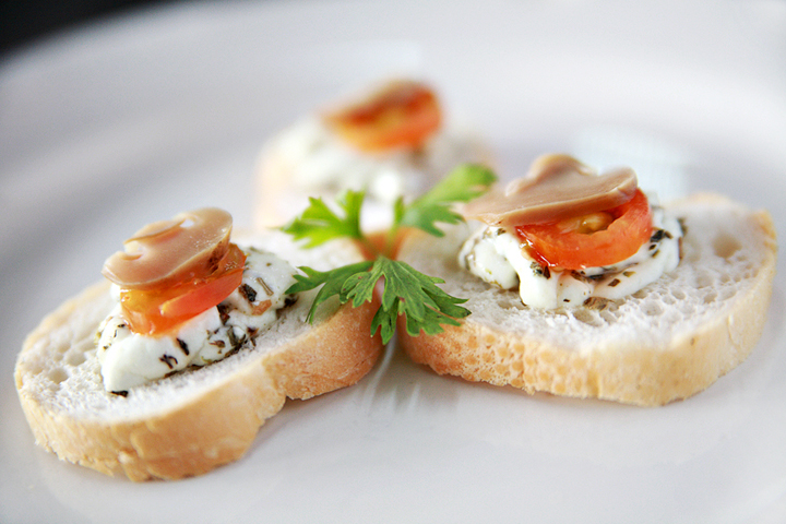 French Bread Crostini with Herbed Kesong Puti